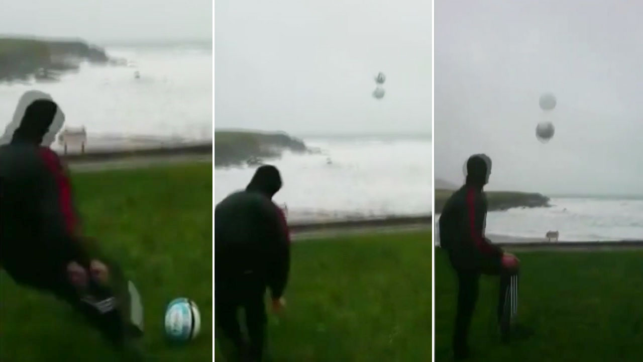 시속 155km 강풍...부메랑이 된 축구공