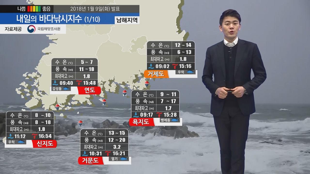 [내일의 바다낚시지수]1월10일 전 해상 풍랑 특보 영향 주말쯤 바다 출조 가능할 듯