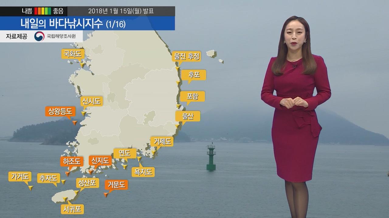 [내일의 바다낚시지수]1월16일 전 해역 비 소식 출조시 안전화 착용 미끄럼 사고 대비