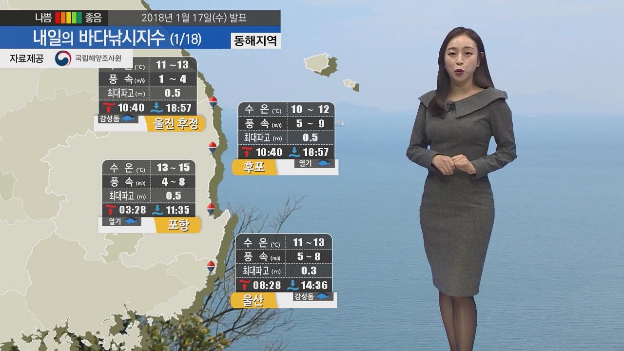[내일의 바다낚시지수] 1월18일 바다 날씨 무난하나 짙은 미세먼지 황사마스크 챙겨 출조