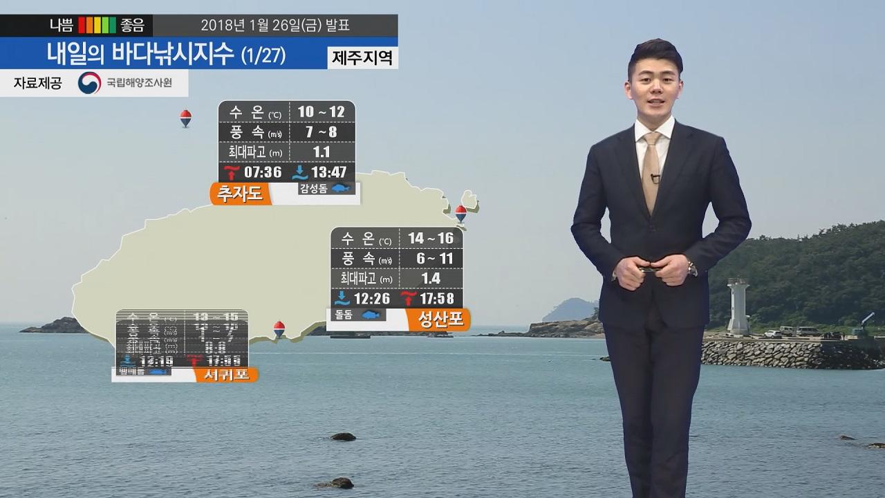 [내일의 바다낚시지수] 1월27일 풍랑특보 여파 남아 있어, 일요일 출조 가능할 듯