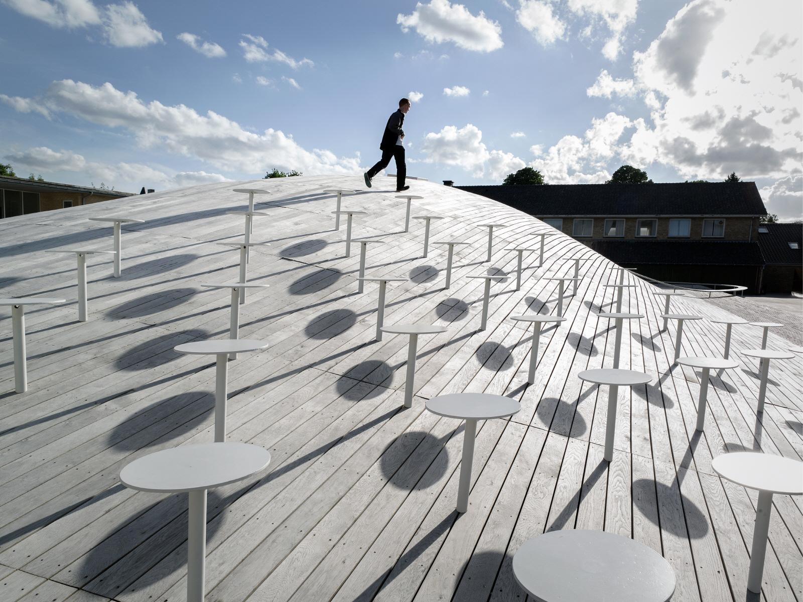 〔안정원의 건축 칼럼〕부드러운 곡면 목재 지붕의 다목적 홀과 결합한 카펫형 축구장 학교 3