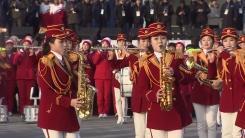 북한 응원단, 명절 맞아 야외 '체육대회' 열어
