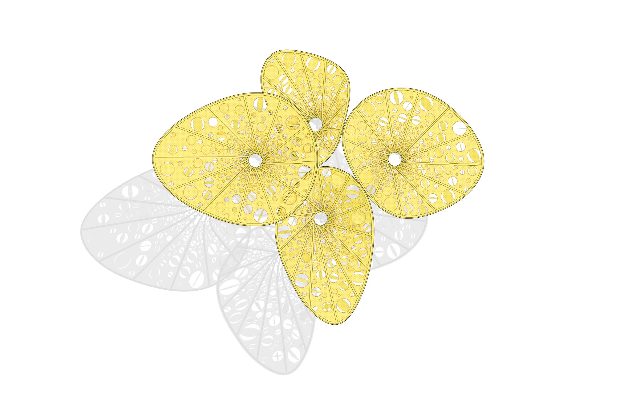 〔안정원의 건축 칼럼〕 바람에 따라 움직이는 얇은 타 공판의 노랑색 조형물 3