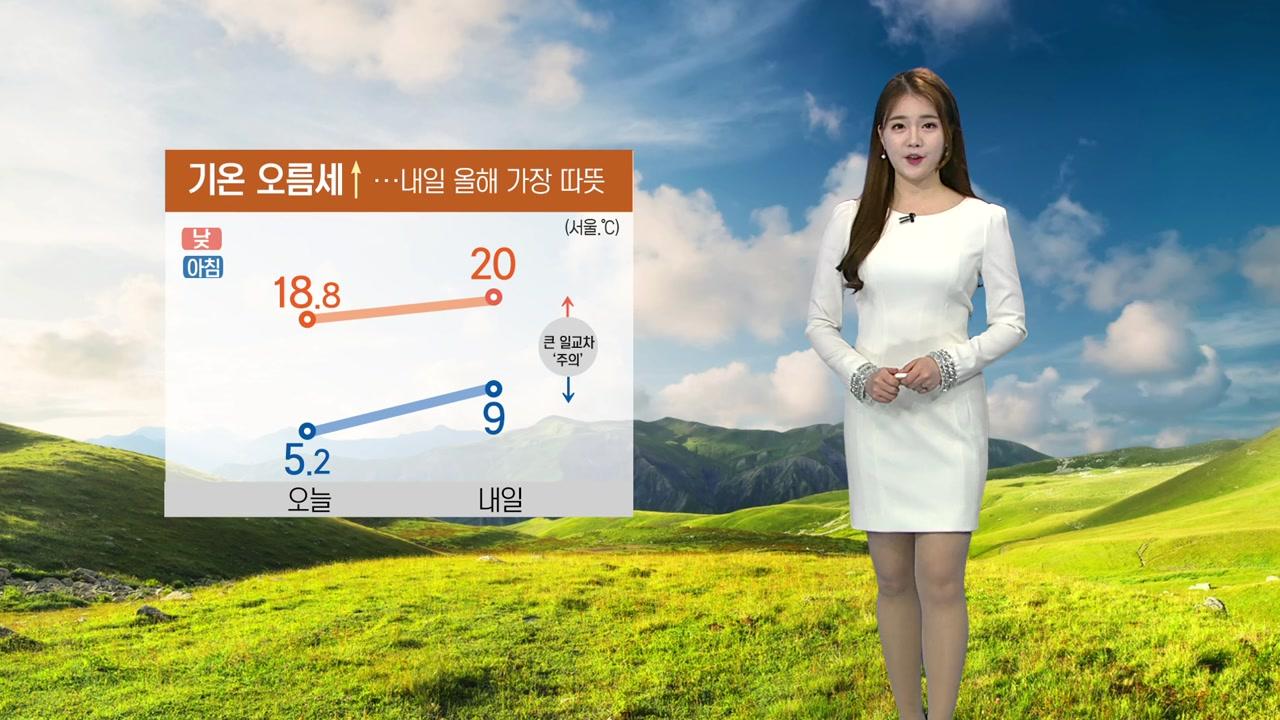 [날씨] 기온 오름세↑...내일 올해 가장 따뜻
