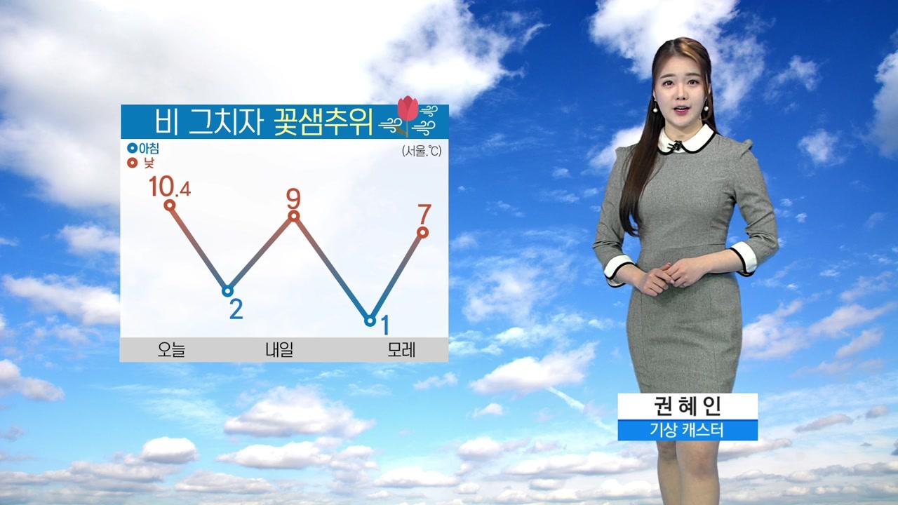 [날씨] 비 그치자 꽃샘추위...내일 아침 서울 2도