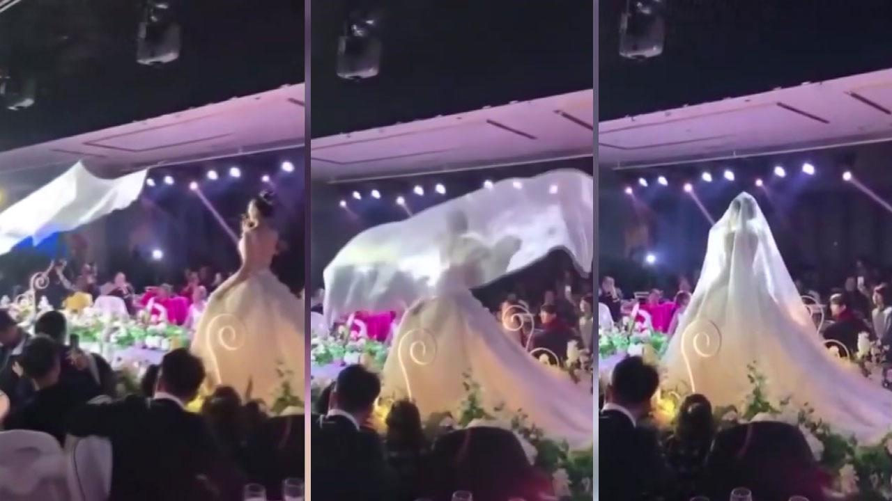 '면사포를 받아라'...중국 결혼식장의 흔한 풍경