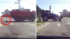 '자연스럽게~' 2차 사고 막은 트랙터 운전사