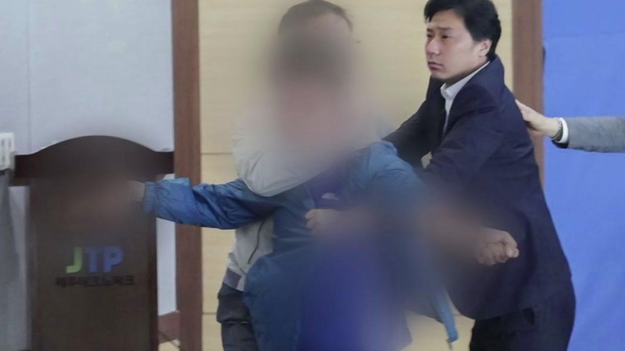 원희룡 제주지사 후보 토론회에서 폭행 당해