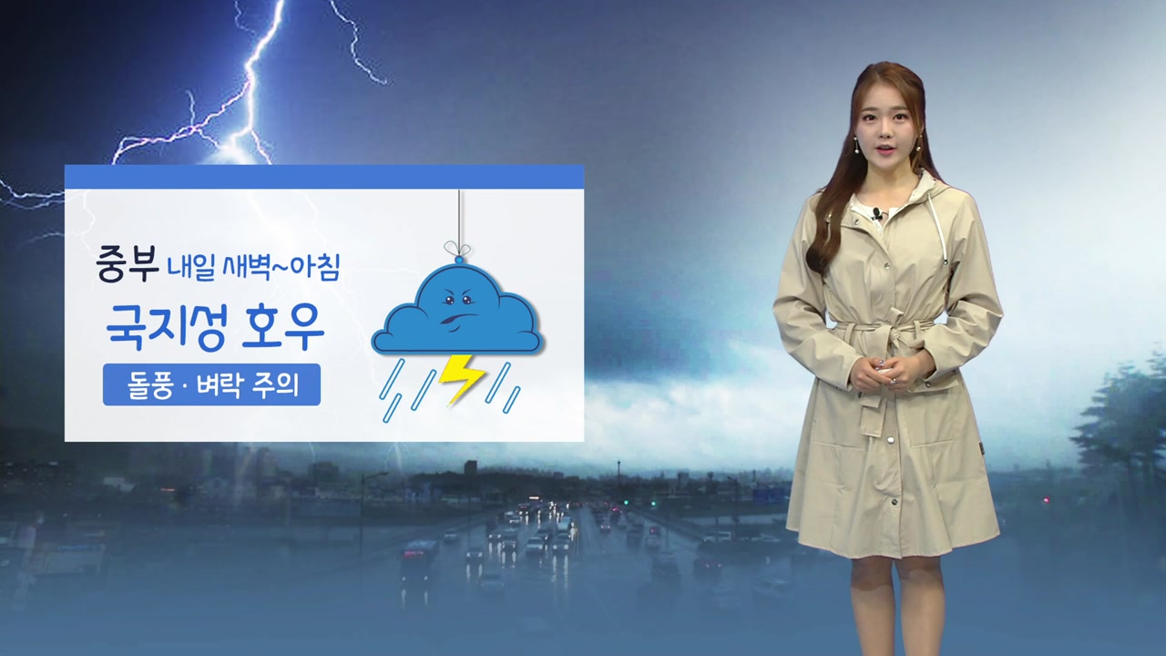 [날씨] 새벽부터 아침 사이 중부 강한 비...벼락·바람 주의