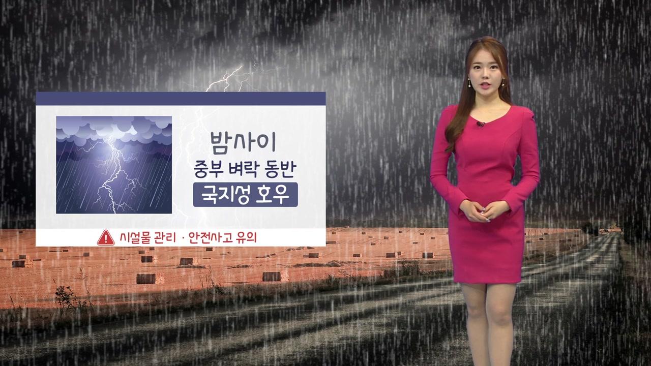 [날씨] 밤사이 중부 국지성 호우...벼락·돌풍 동반