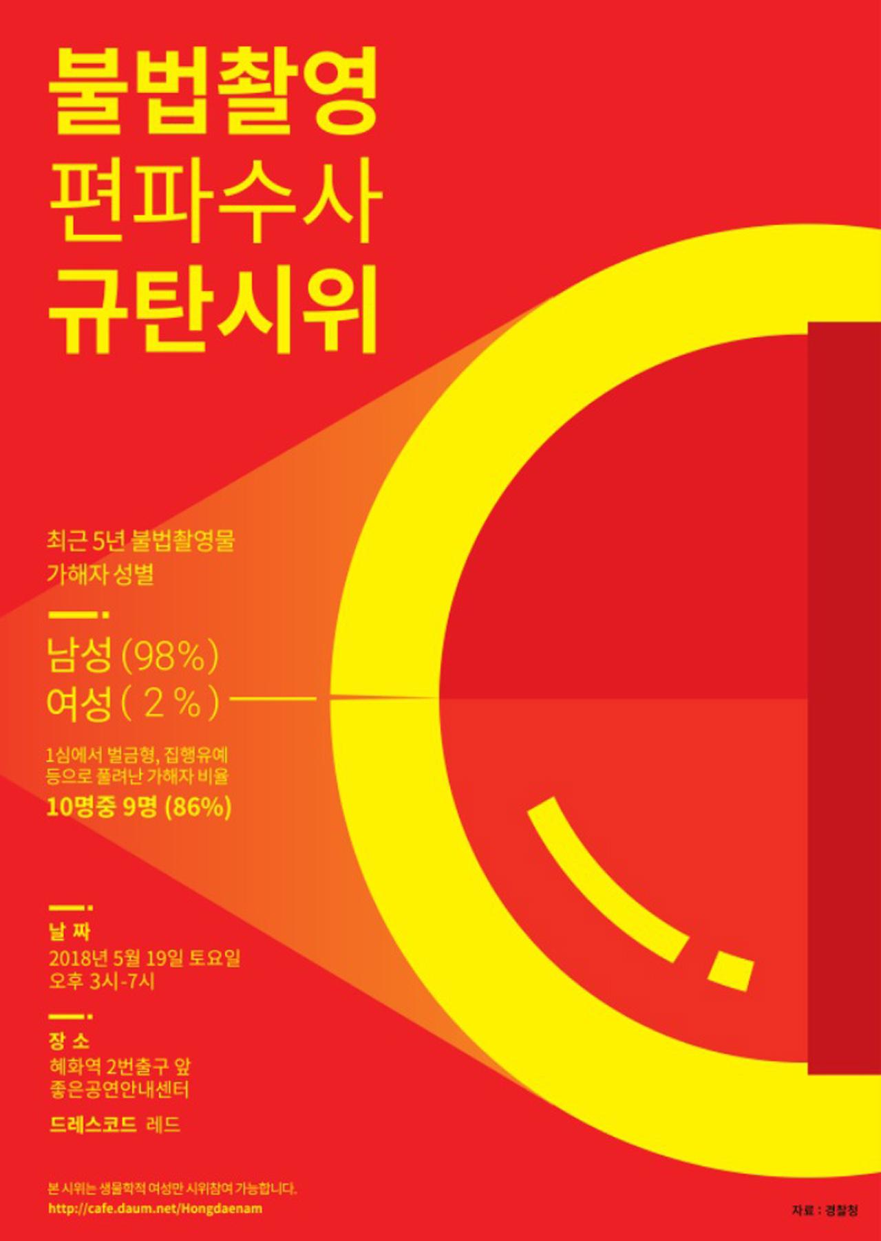 """""""여성만 참여 가능"""" '홍대 몰카 편파수사' 규탄 시위 시작"""