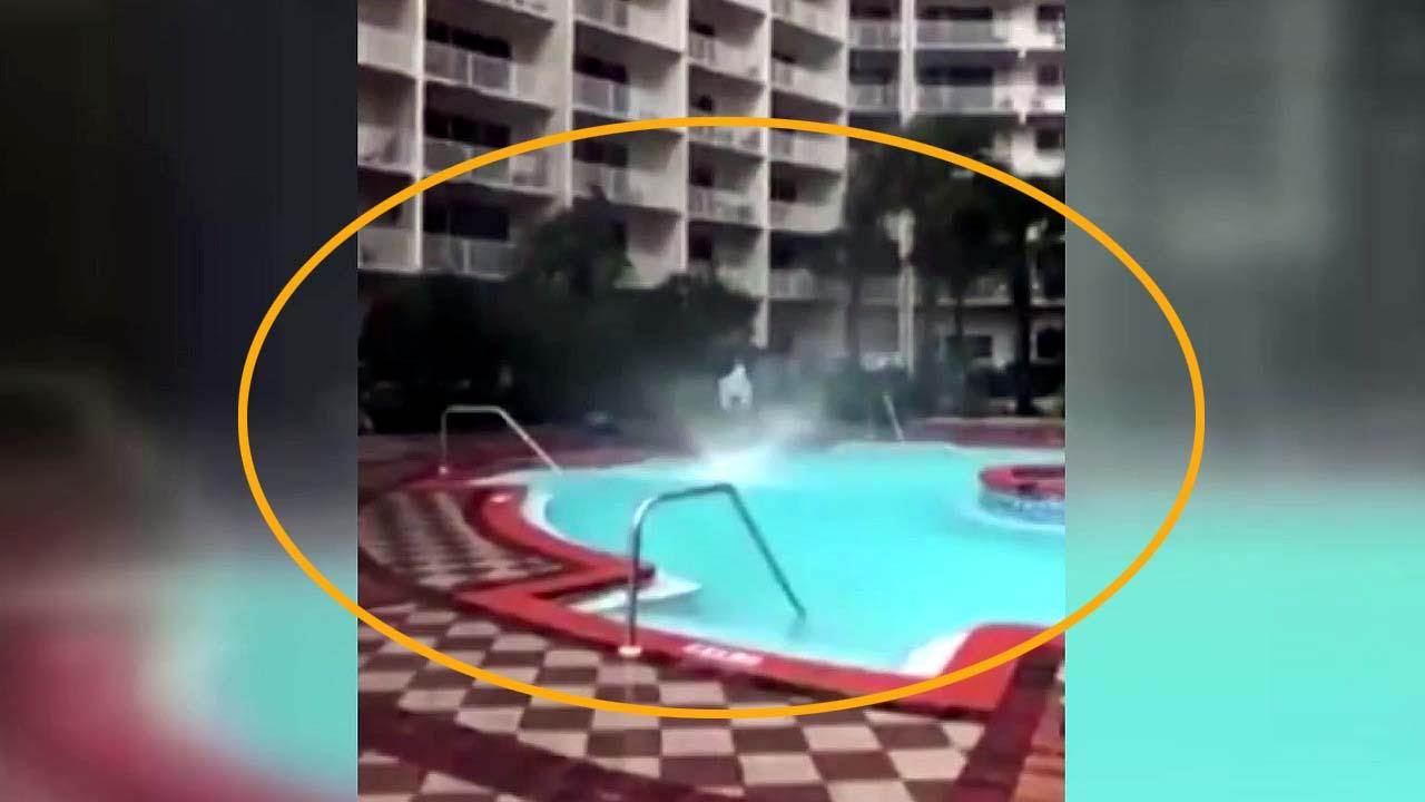 [지구촌생생영상] 호텔 수영장에서 발생한 '물회오리'