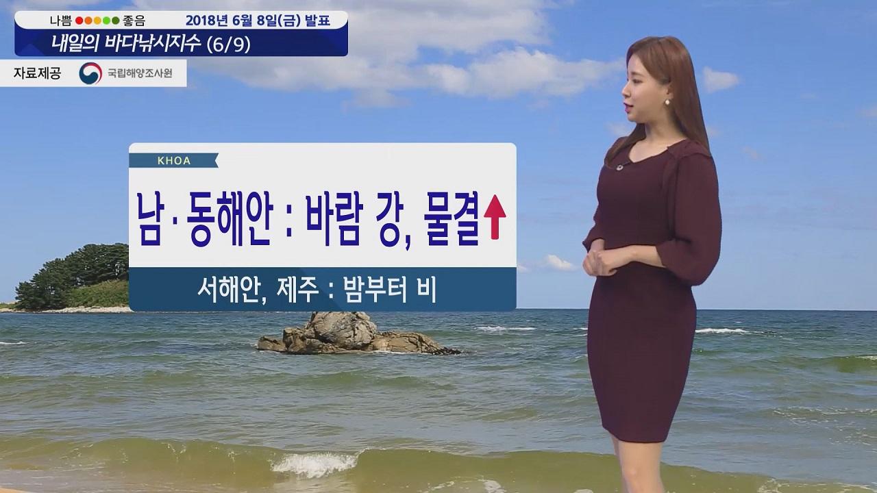 [내일의 바다낚시지수] 6월9일 대부분 해상 짙은 안개 남해안 동해안 강한 바람 높은 물결