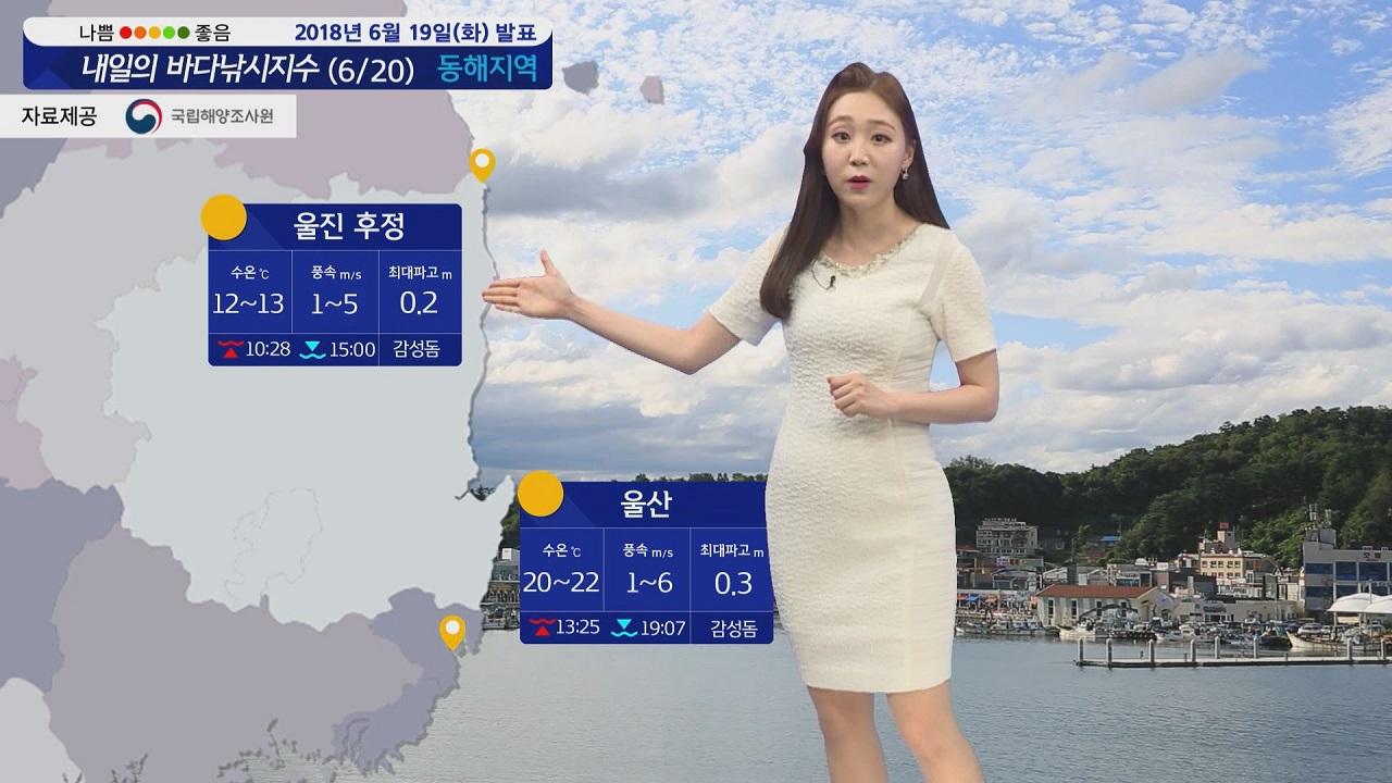 [내일의 바다낚시지수] 6월20일 무더운 날씨 제주 남해안 장마전선 영향 비 내려