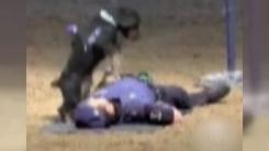 쓰러진 척 연기한 경찰...'심폐소생술' 한 경찰견