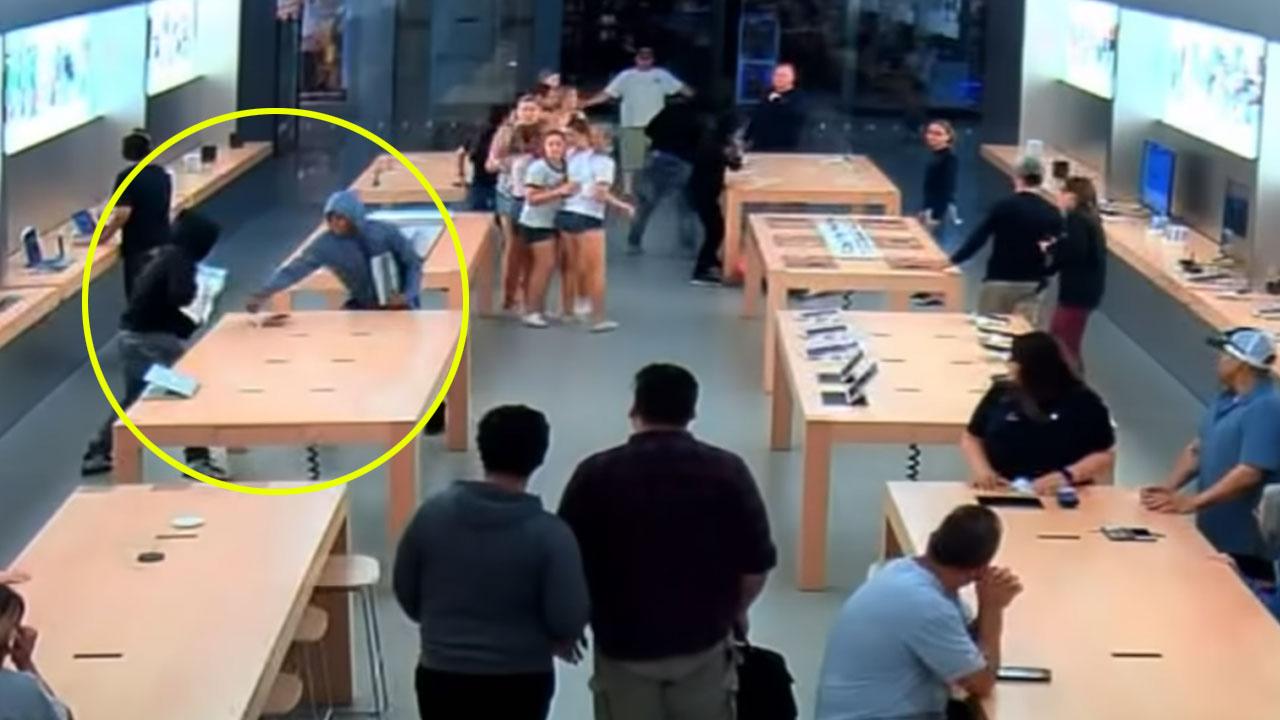 30초 만에 애플 스토어 털어간 4인조 도둑