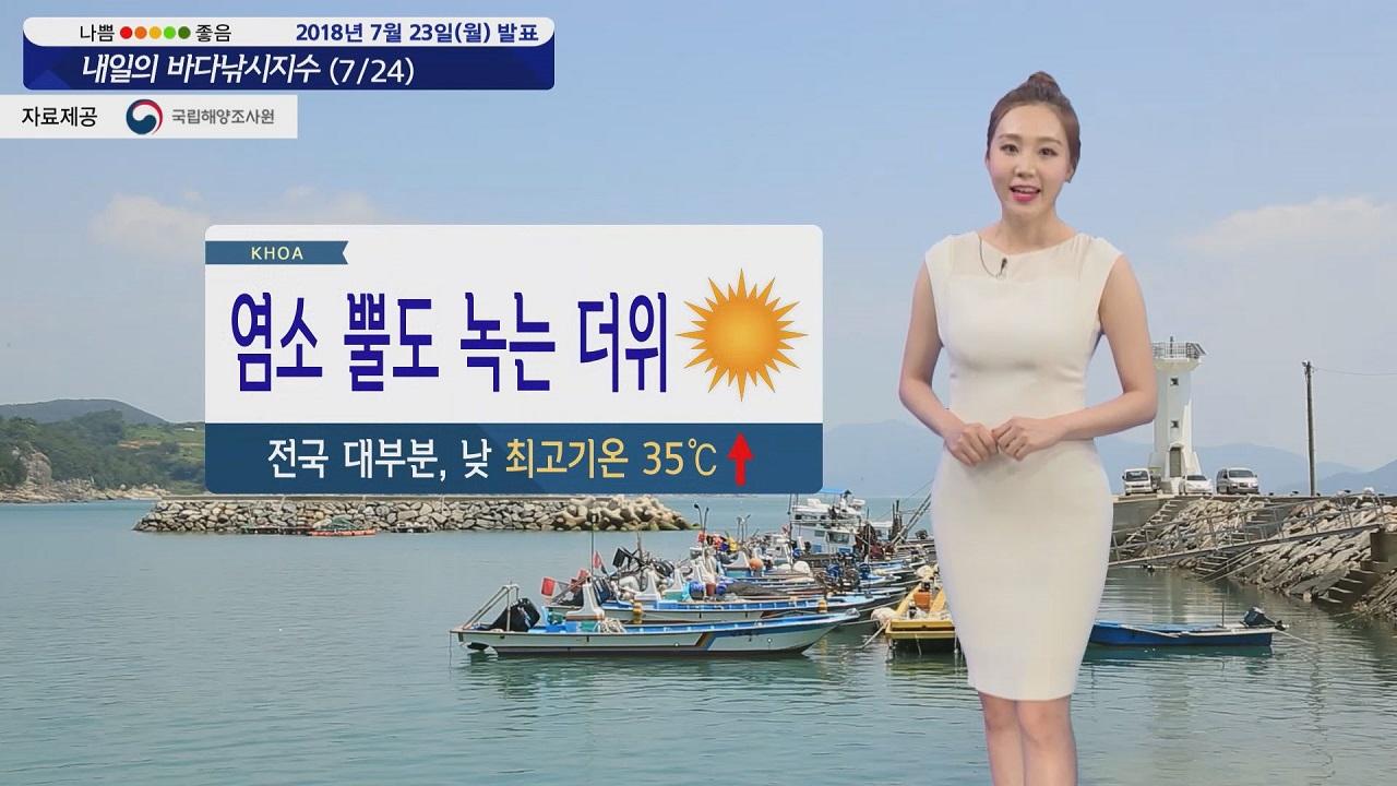 [내일의 바다낚시지수] 7월24일 절기 대서,폭염 무서운 기세 낮기온 최고 35도 건강주의