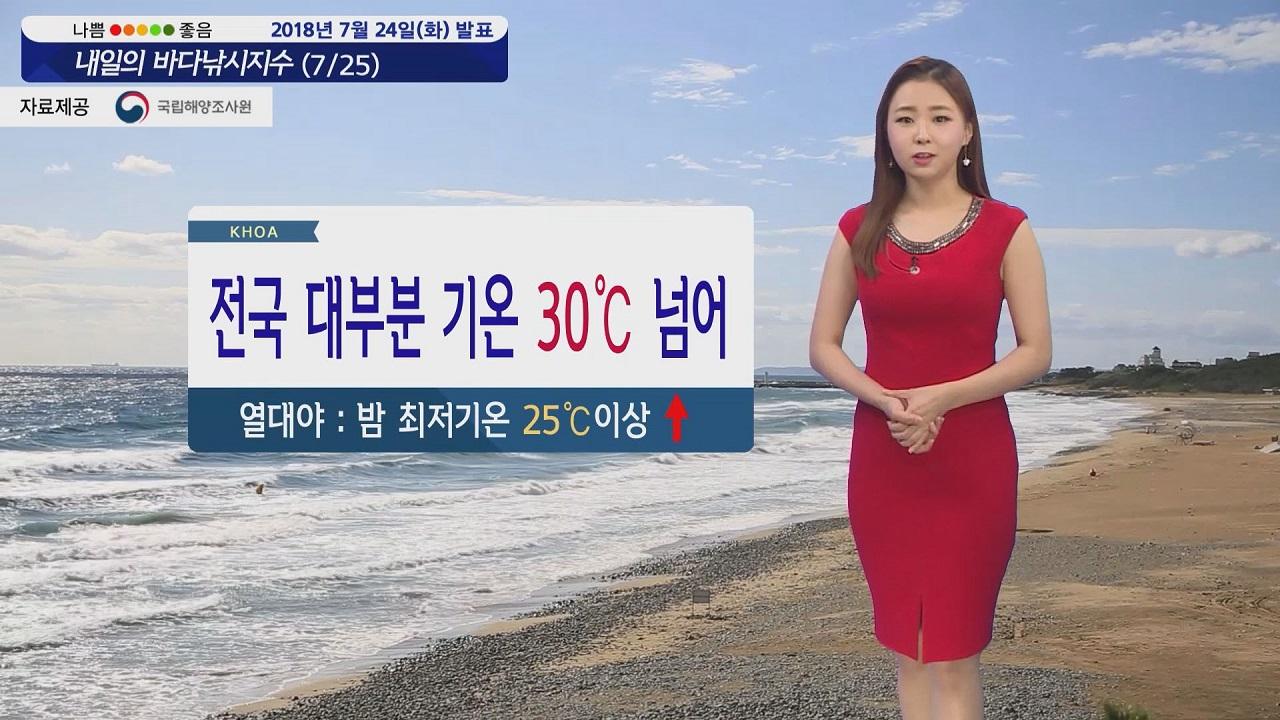 [내일의 바다낚시지수] 7월 25일 대부분 30도 넘는 무더위, 전 해상 짙은 안개 예상