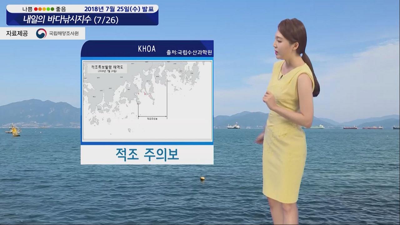 [내일의 바다낚시지수] 7월26일 폭염 영향 고수온 주의보, 조황 기복 심할 것으로 보여
