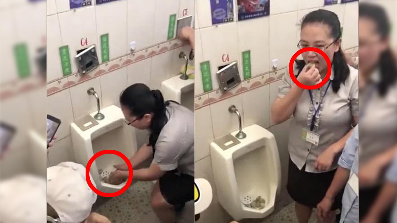 """소변기에 주먹밥 넣고 시식... """"깨끗한 청소 위한 회사 전통"""""""