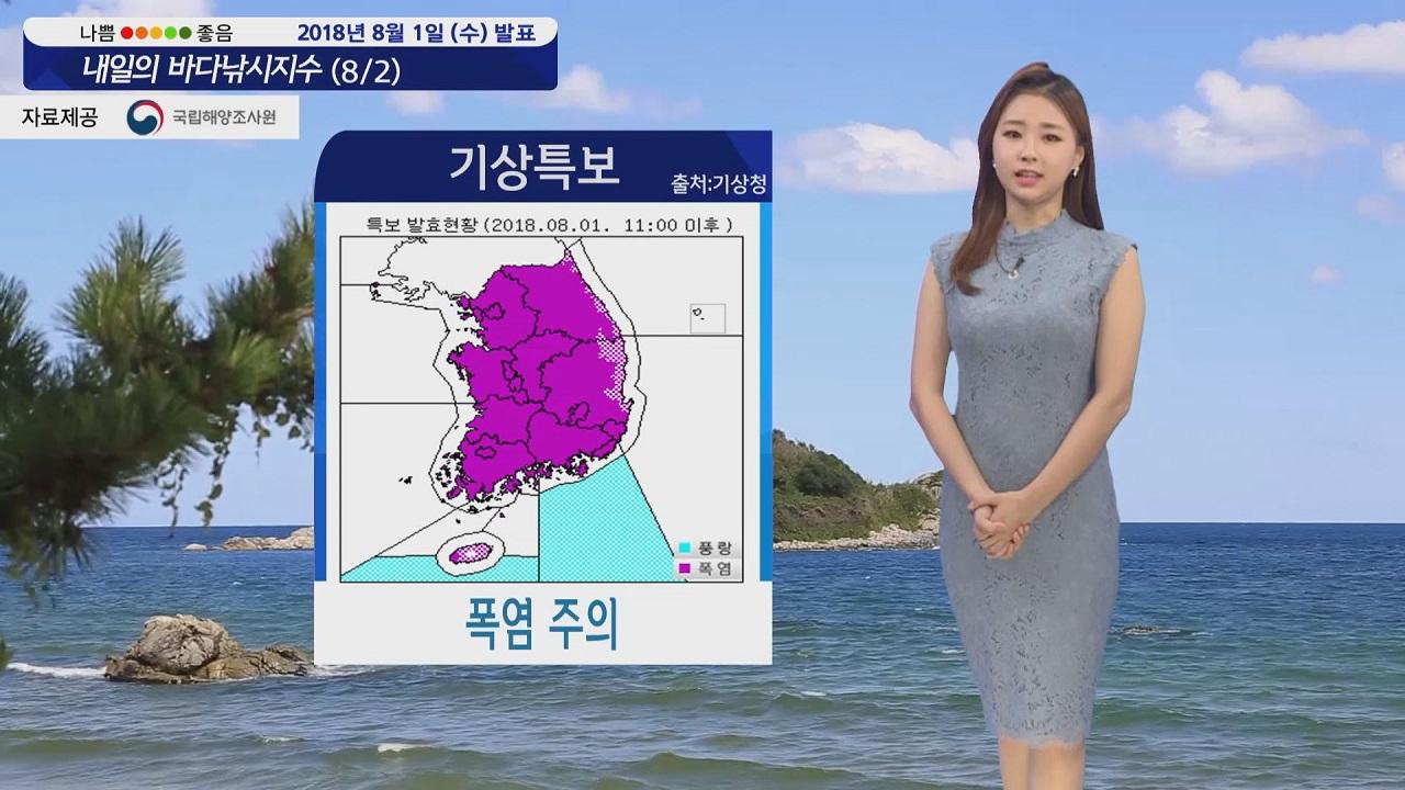 [내일의 바다낚시지수] 8월2일 더위가 전국을 달궈 태풍 '종다리' 열대성저기압으로 약화