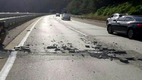 최악 폭염 강원도 홍천 고속도로 파손