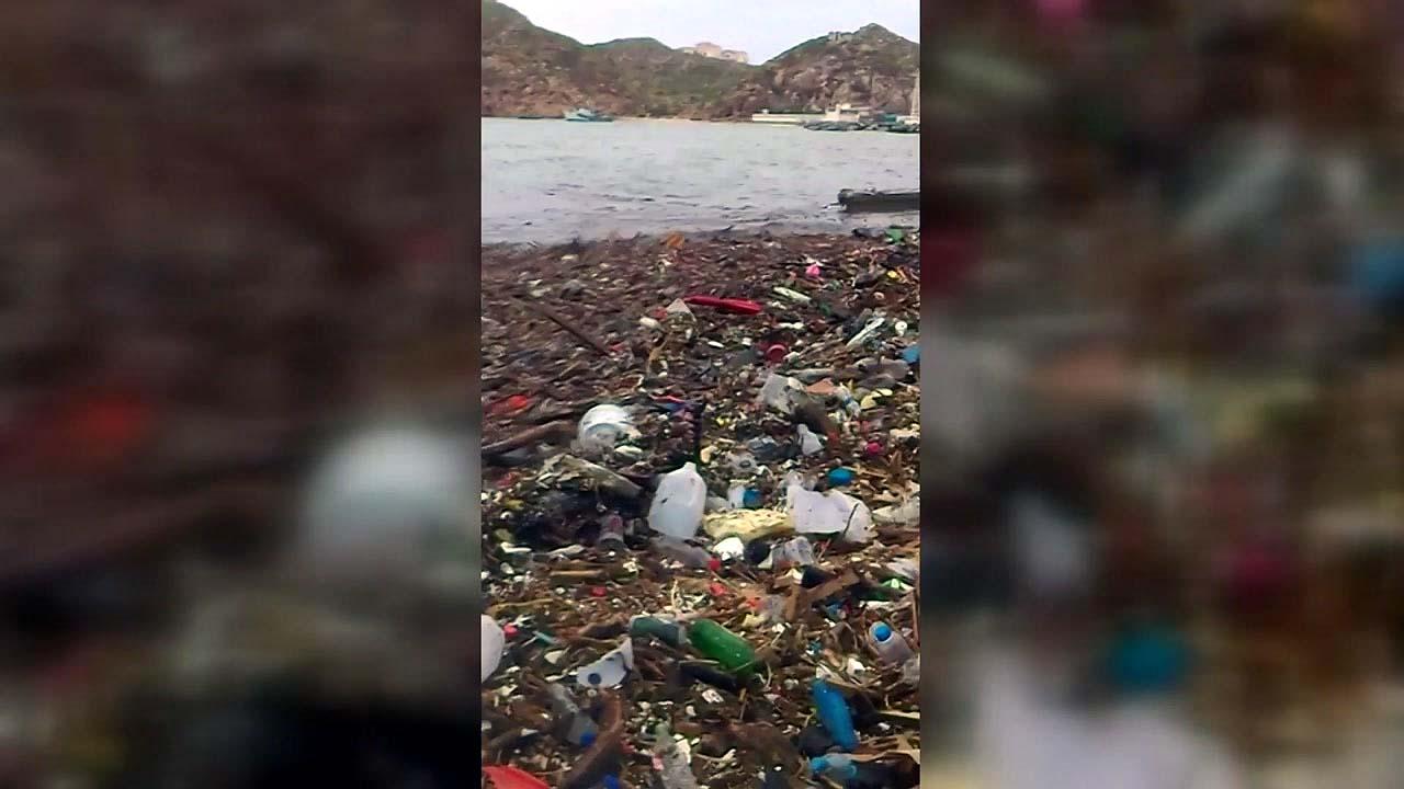 [영상] '플라스틱 쓰레기 파도' 치는 휴양지 해변