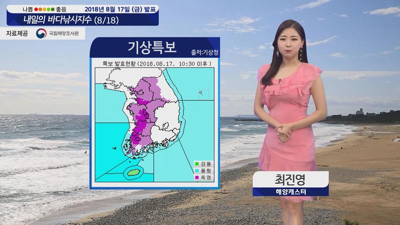 [내일의 바다낚시지수] 8월18일 전 해상 풍랑특보 폭염은 꺾여