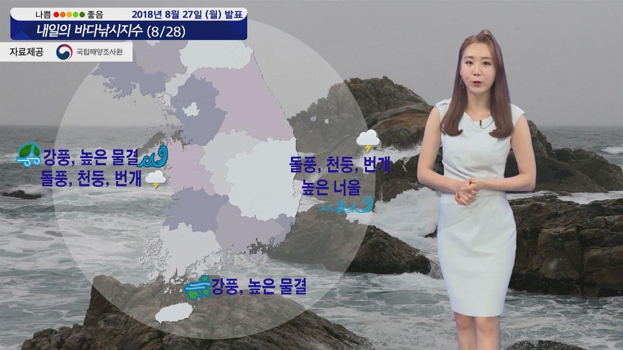 [내일의 바다낚시지수] 8월28일 서해,남해 강한 바람 동해안 너울 영향 각별한 주의 필요