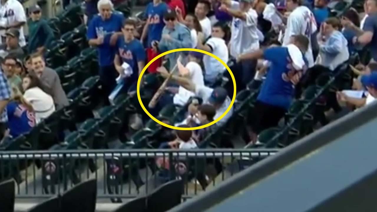 '아빠는 슈퍼맨'...날아든 야구 방망이 맨손으로 막아