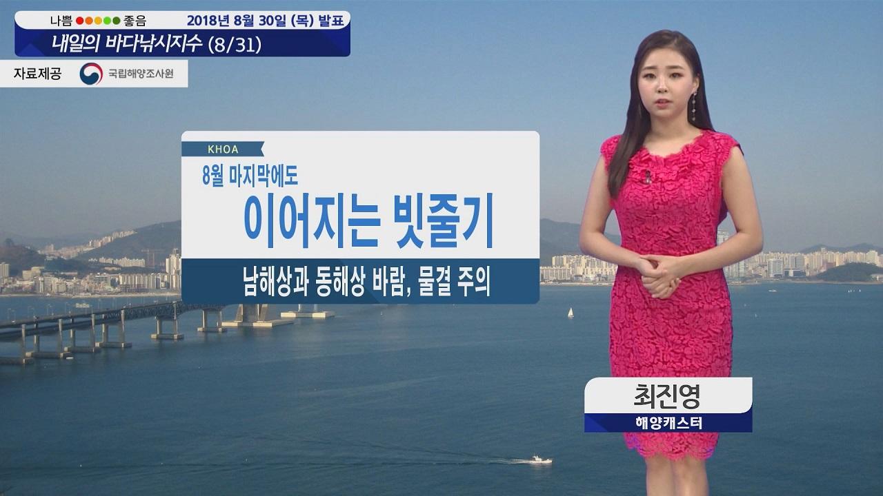 [내일의 바다낚시지수] 8월 31일 계속되는 비 소식 남해상 동해상 바람 강하고 물결 높아