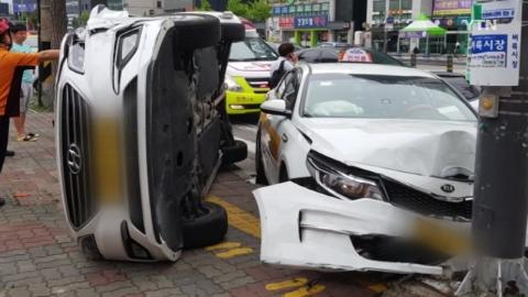 인천 주안서 택시끼리 추돌...2명 다쳐
