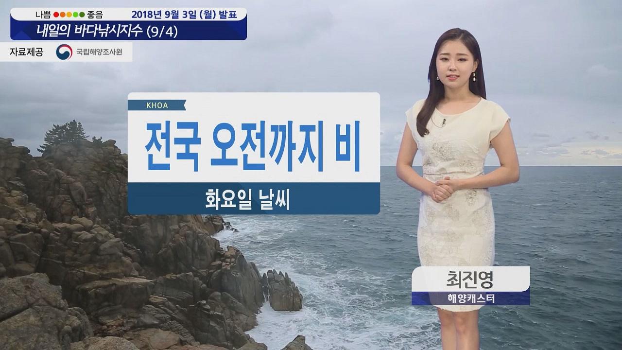 [내일의 바다낚시지수] 9월4일 전국 비 소식, 당분간 해상 강한 바람 높은 물결 안전유의
