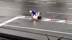 태풍 속 피자 배달?...도로에 주저앉은 배달원