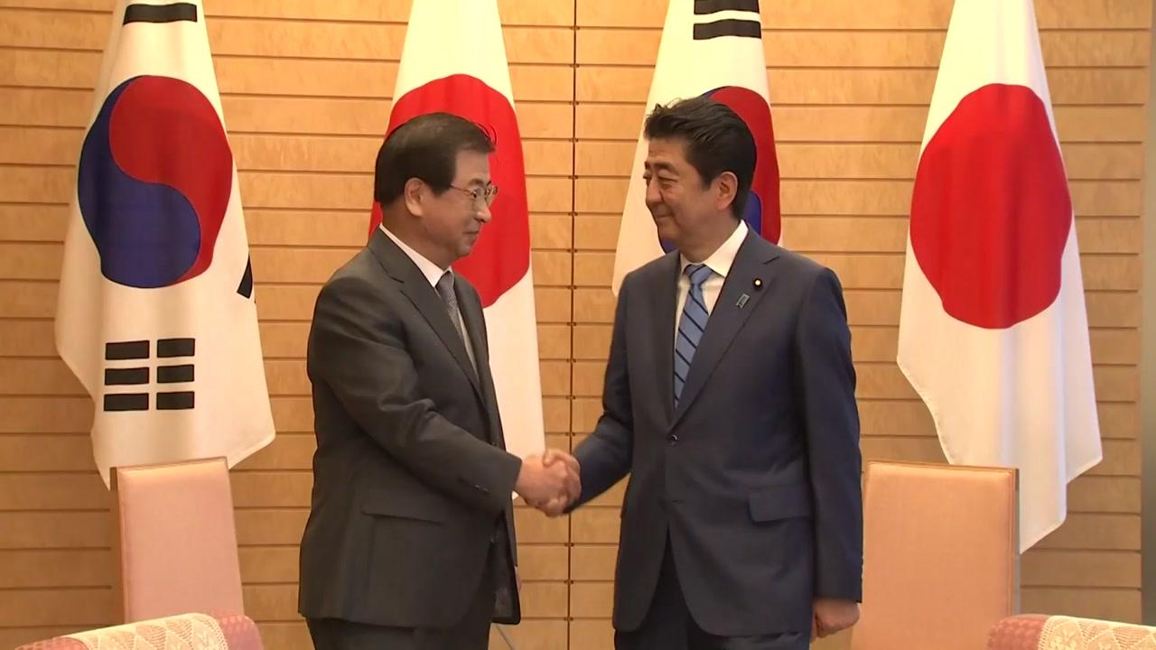 """서훈, 아베 예방...""""한반도 비핵화에 한일 협력 중요"""""""