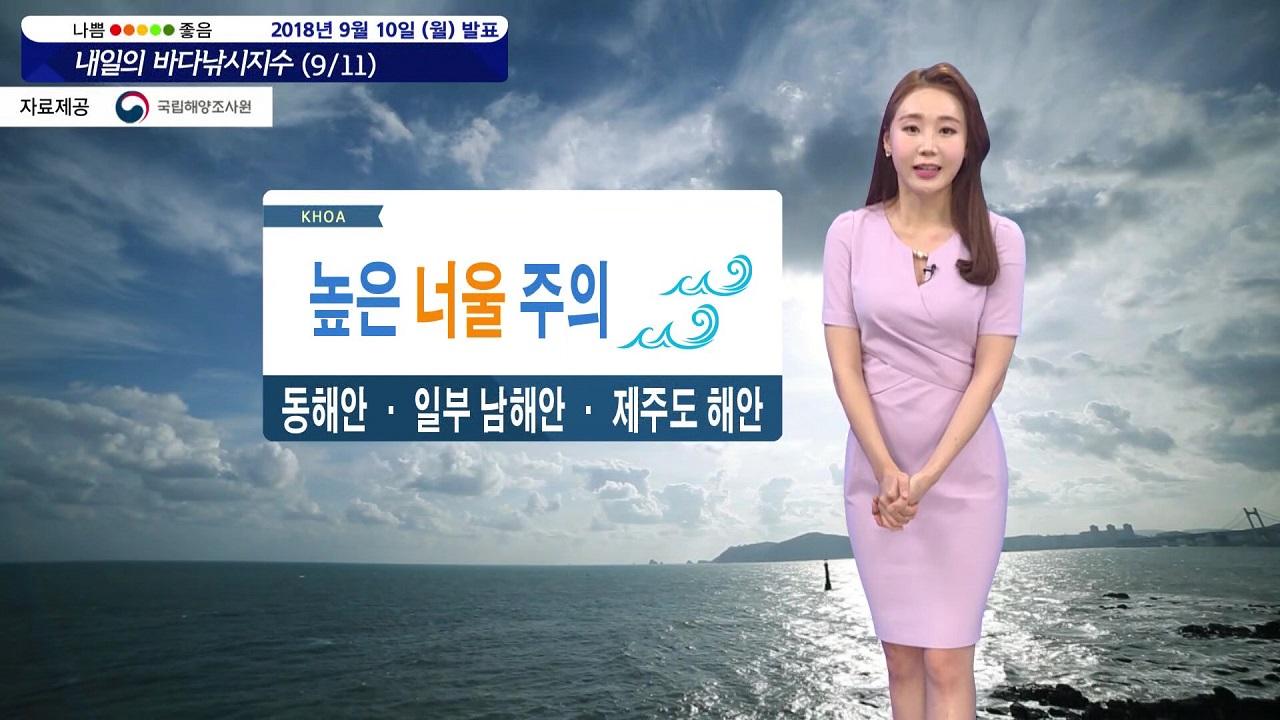 [내일의 바다낚시지수] 9월11일 전 해역 풍랑특보 동해, 남해, 제주 높은 너울 밀려와