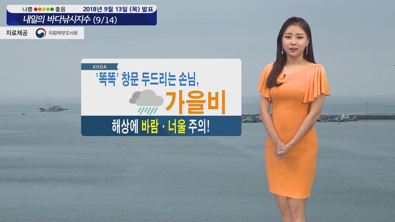 [내일의 바다낚시지수] 9월14일 가을비 해상 바람과 너울 영향 해상 활동 해안도로 주의