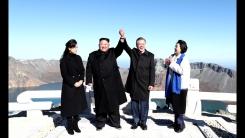 [포토] 문 대통령·김 위원장, 백두산 등반