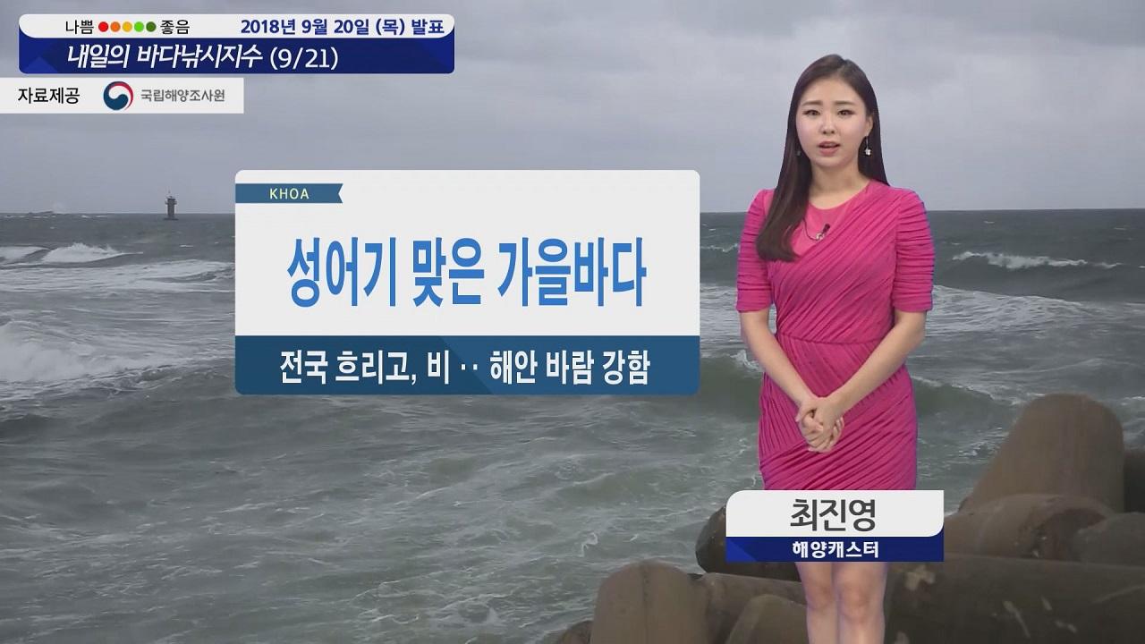 [내일의 바다낚시지수] 9월21일 금요일 흐린 날씨 비소식 강한 바람 불어 출조 어려울 듯