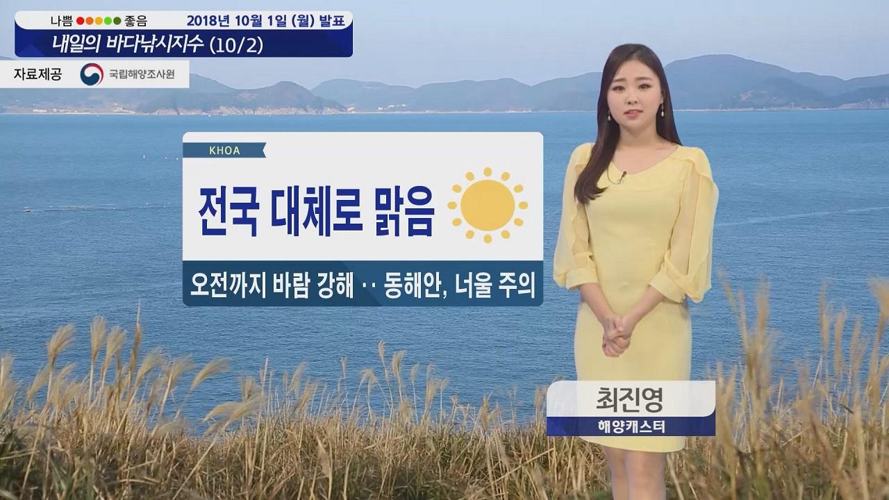 [내일의 바다낚시지수] 10월2일 대부분 해상 강한 바람 높은 물결 너울 주의해야