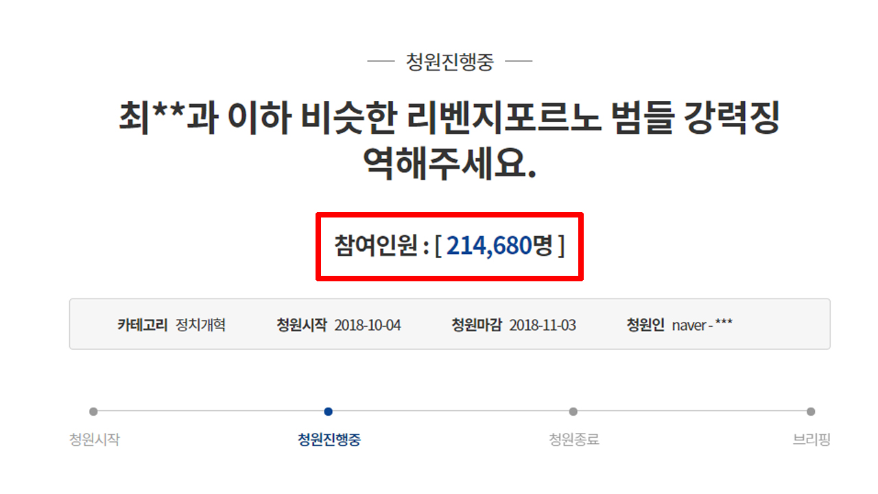 '리벤지 포르노 강력처벌' 청와대 국민청원 20만 돌파
