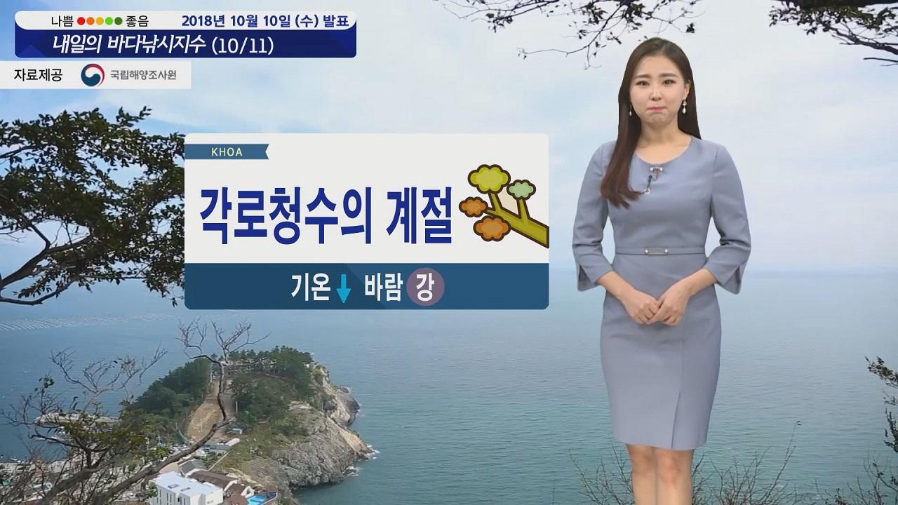 [내일의 바다낚시지수] 10월11일 해안가 강한 바람 낚시할 때 옷차림에 더욱 신경 써야