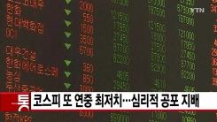 [YTN 실시간뉴스] 코스피 또 연중 최저치...심리적 공포 지배