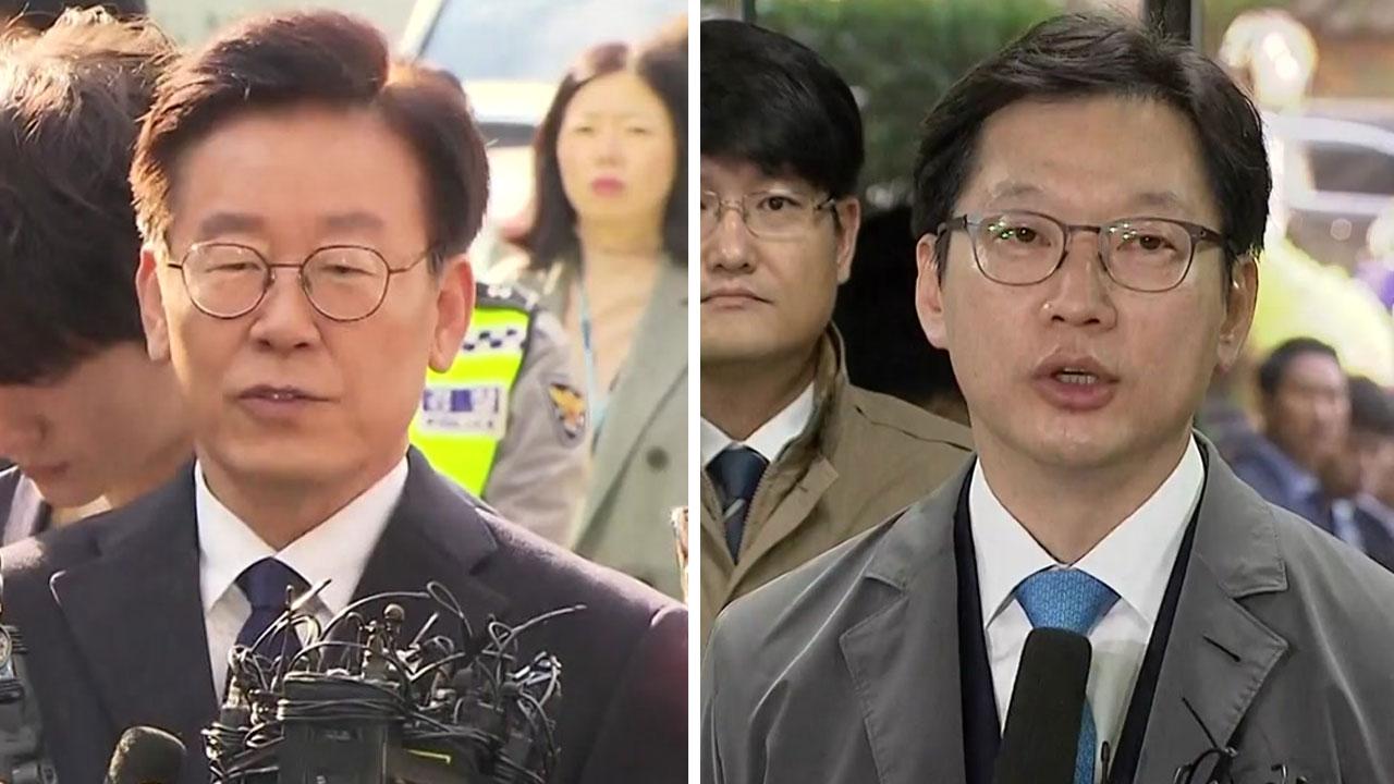 與 잠룡 이재명·김경수 '경찰·법원' 출석