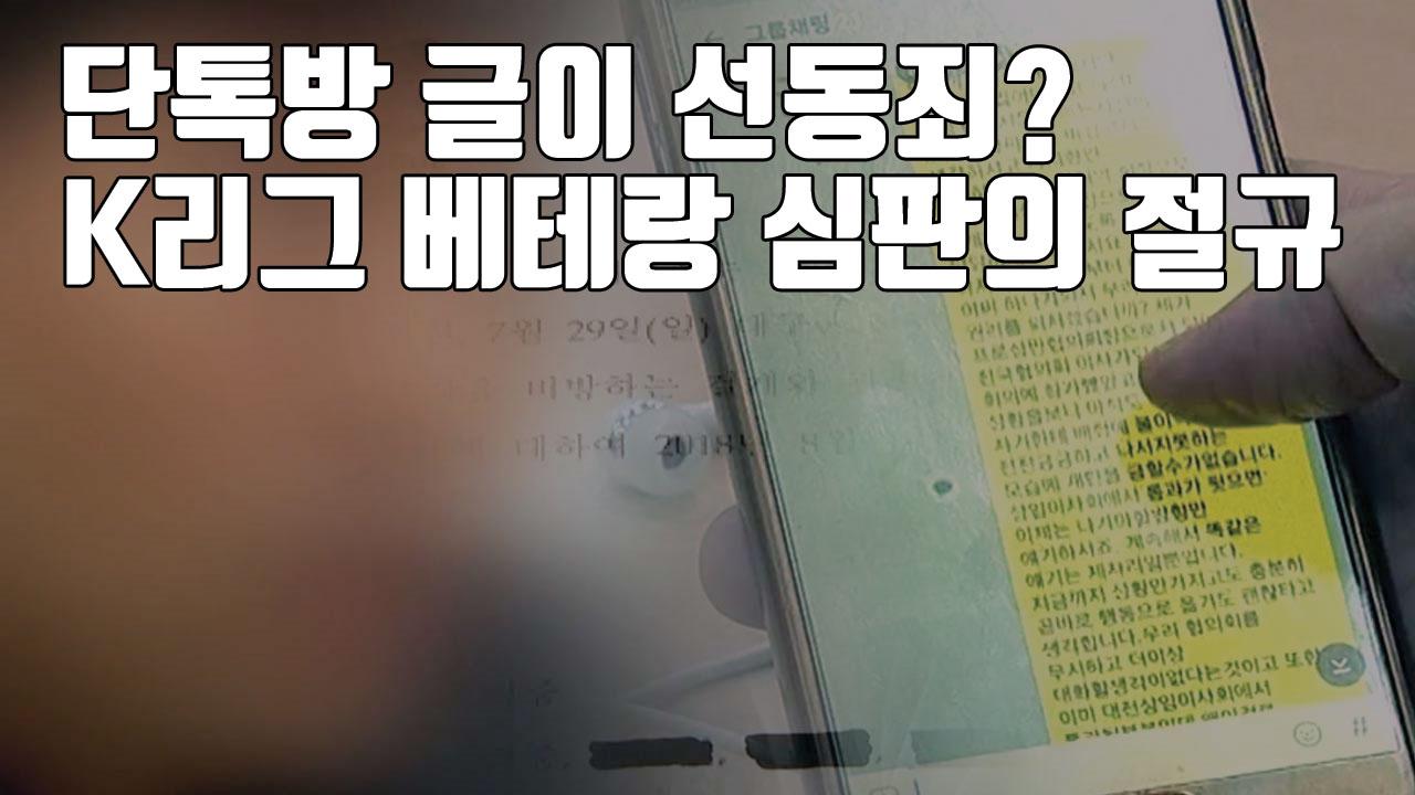 [자막뉴스] 단톡방 글이 선동죄?...K리그 베테랑 심판의 절규
