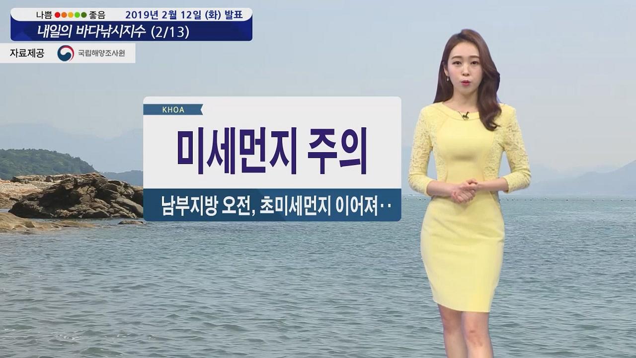 [내일의 바다낚시지수] 2월13일 미세먼지 탁한 공기, 전 해역 강한 바람 높은 파도 예상