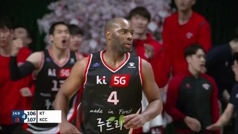 '랜드리 41점' kt, KCC 꺾고 공동 4위