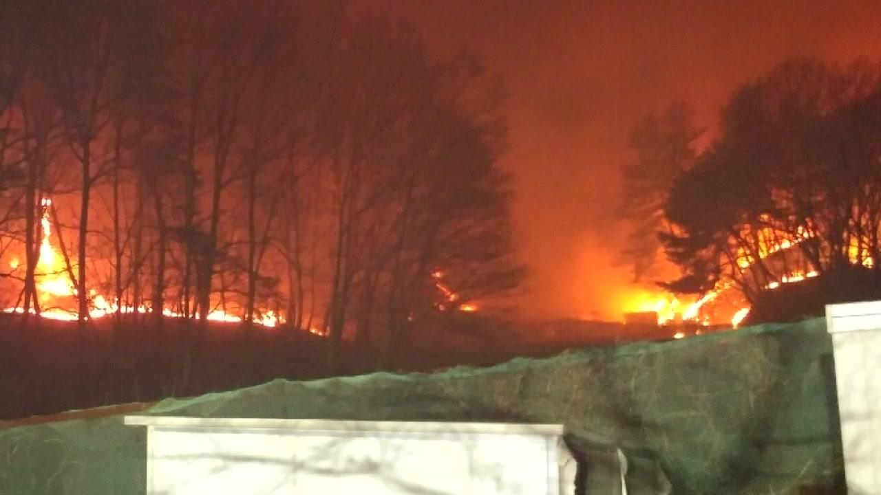 포항 대송면 야산에 불...주민 100여 명 대피