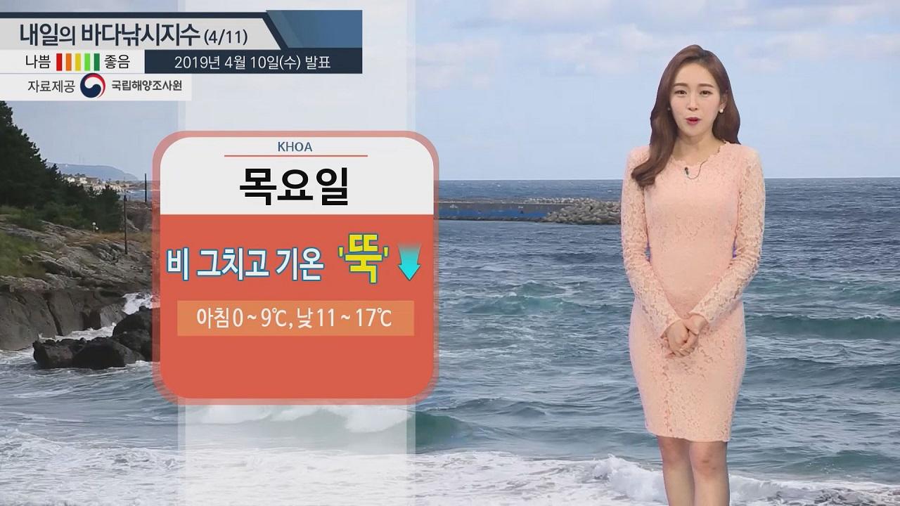 [내일의 바다낚시지수] 4월11일 쌀쌀한 날씨 따뜻한 옷차림 필요 동해안 너울 위험 주의